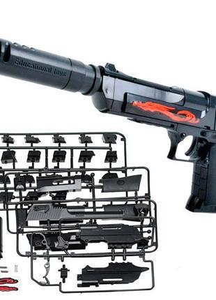 Конструктор пистолет детский на пульках Desert Eagle с глушите...