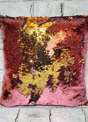 Декоративная подушка с пайетками розовое золото, 39х39 см