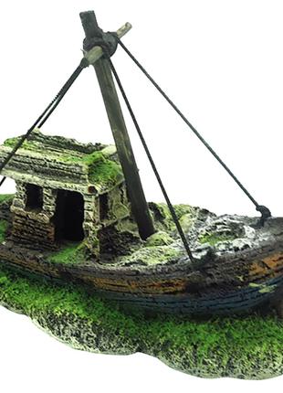 Для аквариума пиратский корабль