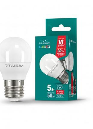 LED лампа TITANUM G45 5W E27 4100K 220V (гарантия 1 год)