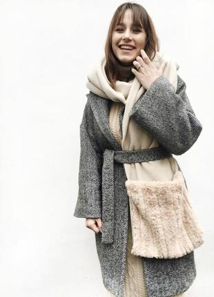Тёплый шарф мех шуба