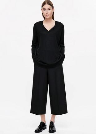 Шерстяные брюки кюлоты с карманами.