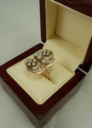 Кольцо из желто-белого золота с бриллиантами