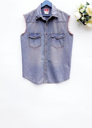 Классная мужская рубашка без рукава джинсовая рубашка