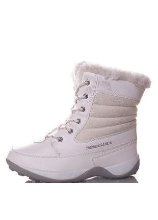 Женские зимние белые спортивные ботинки на шнурках