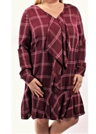 Платье-туника в клетку с v- вырезом, оборкой и рукавами на ман...