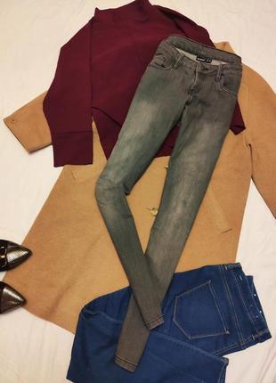 Серые джинсы скинни хлопковые коттоновые базовые повседневные ...