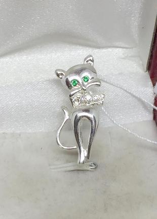 Новая серебряная брошь булавка кошечка серебро 925 пробы