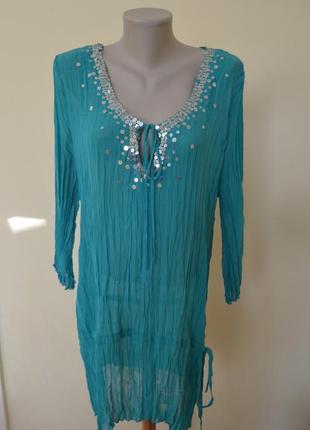 Красивая нарядная блузочка  бирюзового цвета большого размера