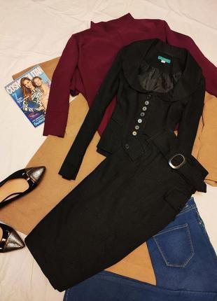 Костюм юбка пиджак чёрный в серую вертикальную полоску хлопок ...