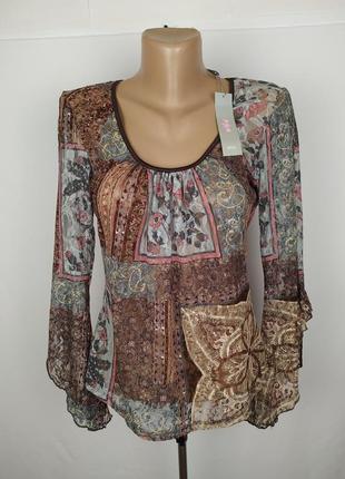 Блуза новая стильная стрейчевая кружево гипюр marks&spencer uk...