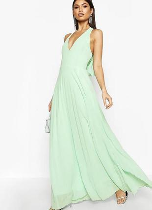 Плиссированное  платье в пол boohoo, размер 8