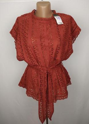 Блуза новая стильная терракотовая под пояс большой размер prim...