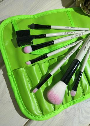 Кисти для макияжа набор 7 шт в футляре make-up for you green p...