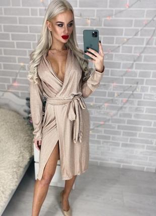 Платье люрекс на запах