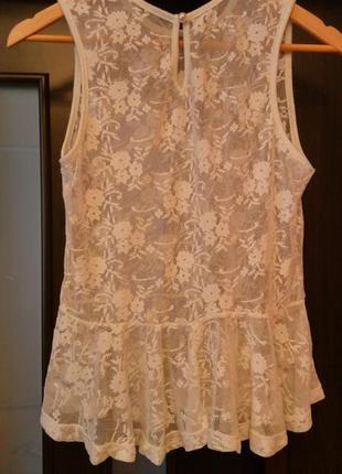 Кружевная блузка с баской/кофточка с баской