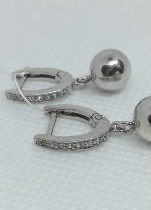 Новые родированые серебряные серьги шарики 8 мм куб.цирконий с...
