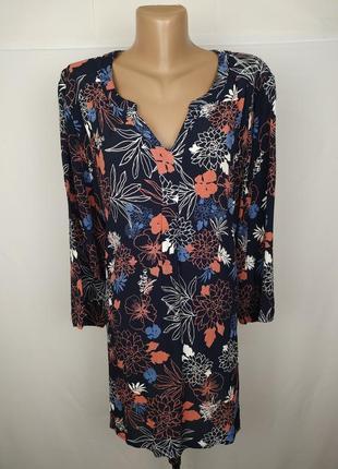 Блуза в принт натуральная большого размера uk 22/50/4xl