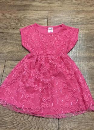 Кружевное нарядное розовое платье ,на девочку 2-4 года!новое!