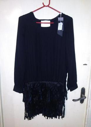 Новое с бирками,экстравагантное платье с кожаной бахромой,swee...