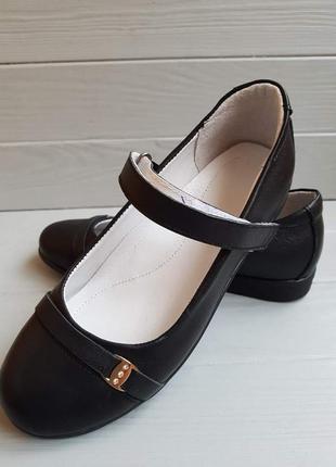 Туфли кожаные d style black для девочки