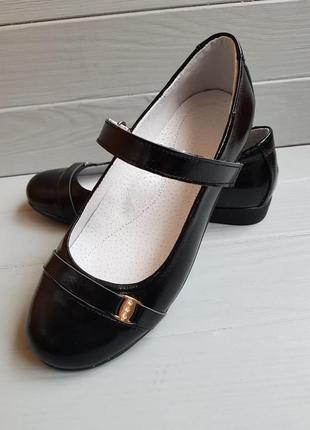 Туфли кожаные d style shiny black для девочек