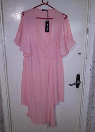 Роскошное,новое,коктейльное,асимметрич,лососевое платье на зап...
