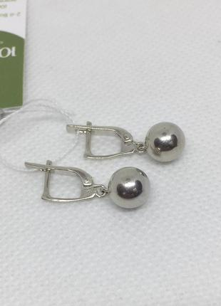 Новые родированые серебряные серьги шарики 8 мм серебро 925 пробы