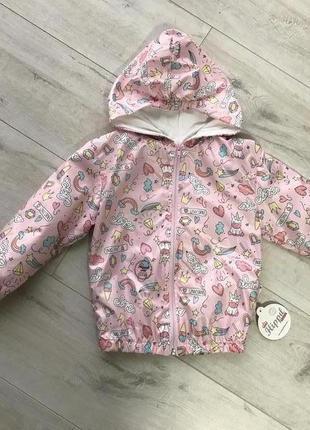 Куртка-ветровка на девочку , принт «единорог»