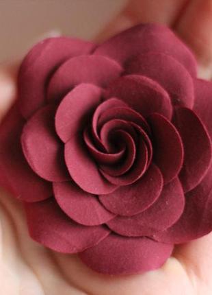 "Заколка цветок ""роза марсала"""