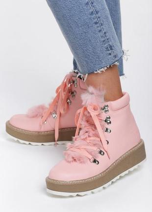 Новые шикарные женские демисезонные розовые ботинки
