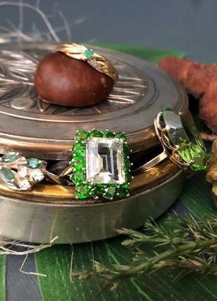 Винтажное кольцо серебро 925 проба, ссср, изумруд