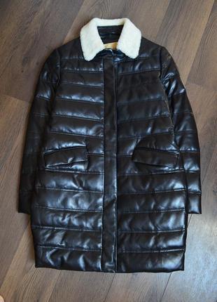 Черная удлиненная утепленная кожаная куртка,парка натуральна к...