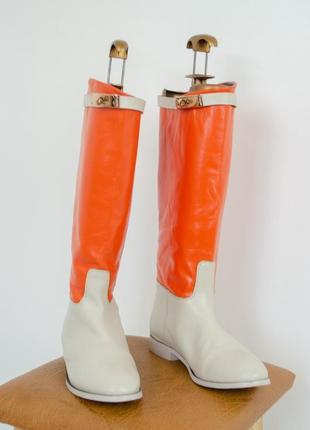 Высокие брендовые кожаные сапоги, ботинки hermes  38,5 (24,5 см)