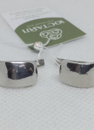 Новые родированые серебряные серьги серебро 925 пробы