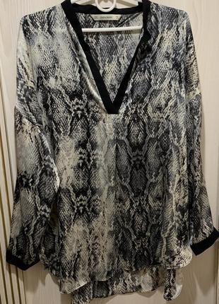 Шикарная блуза змеиный принт чешуи от zara блуза с тигровым пр...