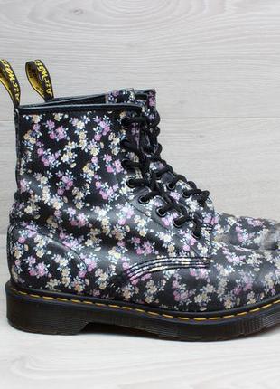 Кожаные женские ботинки в цветы dr. martens оригинал, размер 38