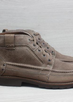 Кожаные мужские ботинки clarks оригинал, размер 46 (замша)