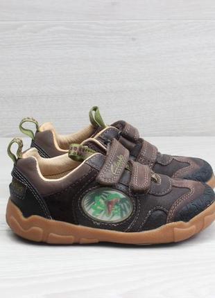 Детские кожаные кроссовки на липучках clarks stomposaurus, раз...