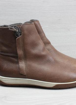 Женские кожаные ботинки с мехом ecco оригинал, размер 38 (сапоги)