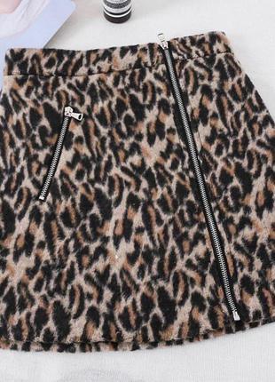 Юбка теплая леопард скидка