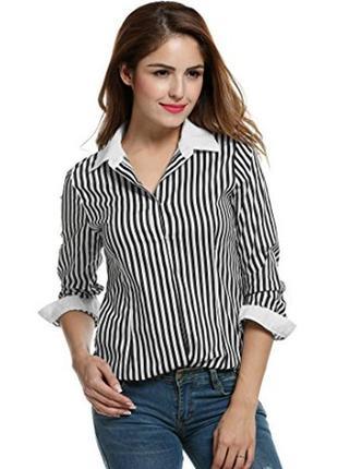 🎁1+1=3 французская белая нарядная блуза в полоску с люрексовой...