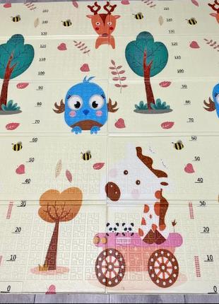 Детский коврик 1.8*1.5 м| Коврик складной для ползания Звери