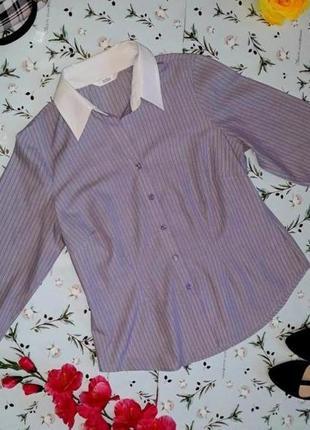 🎁1+1=3 фирменная приталенная фоилетовая блуза marks&spencer, р...