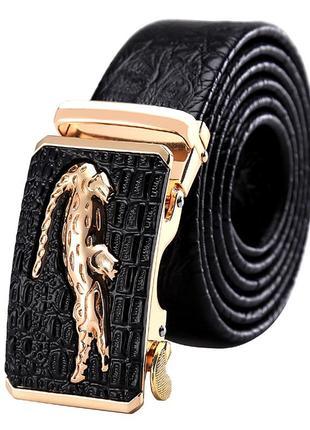 Ремень мужской кожаный с пряжкой автомат. пояс из натуральной ...