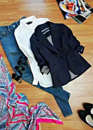 Женский коттоновый базовый жакет - пиджак new look - размер 42