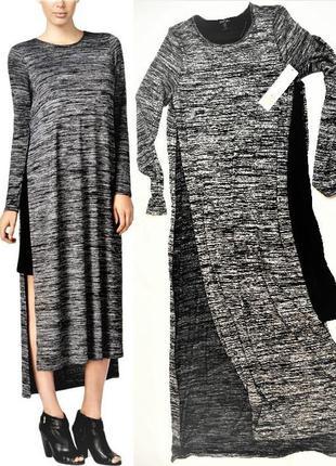 Двухслойное  платье-туника  почти  макси с разрезами от проймы...