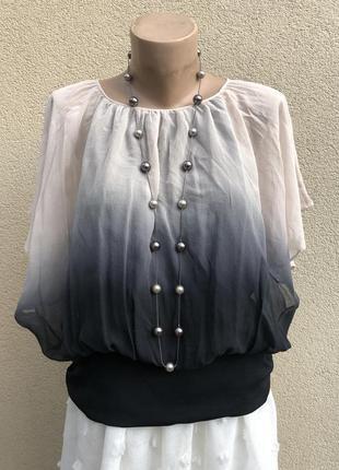 Шелковая блуза-амбре,летучая мышь,реглан,шелк100%,