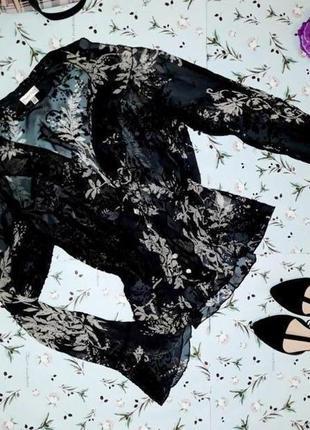 🎁1+1=3 шикарная шелковая черная блуза с набитым узором phase e...
