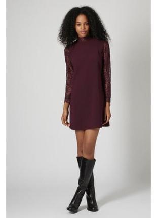 Платье кружевное мини бордовое topshop кружево свободного кроя